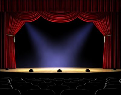 Stage with Curtain and Lights